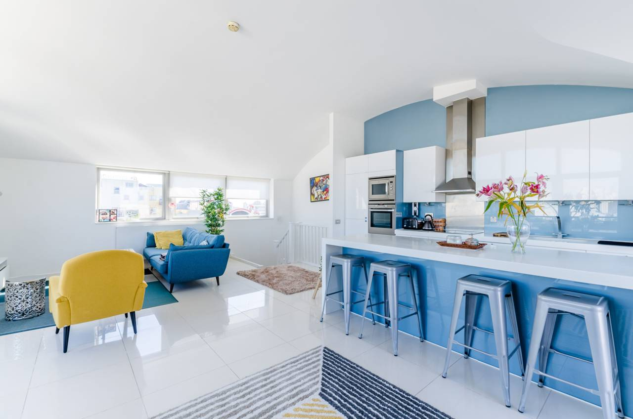 open-plan, contemporary, blue