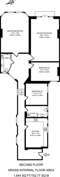 Large floorplan for Moscow Road, Notting Hill, W2