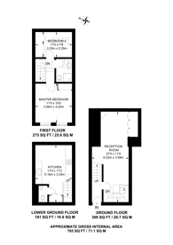 Large floorplan for New End, Hampstead, NW3