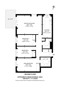 Large floorplan for Century Court, St John's Wood, NW8