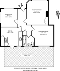 Large floorplan for Pymmes Close, Bounds Green, N13