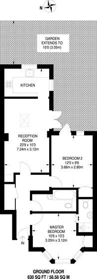 Large floorplan for Upham Park Road, Chiswick, W4