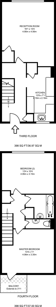 Large floorplan for Fulham Road, Parsons Green, SW6
