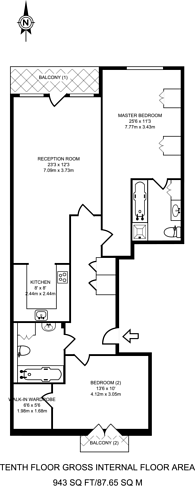 Large floorplan for Discovery Dock Apartments, Canary Wharf, E14