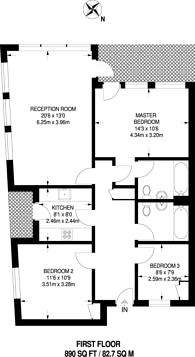 Large floorplan for Sheringham Road, Islington, N7