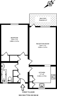 Large floorplan for Dennetts Road, New Cross, SE14
