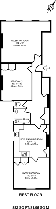 Large floorplan for Richmond Road, Twickenham, TW1