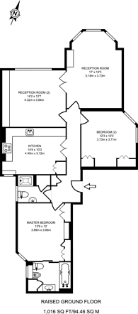 Large floorplan for Queens Club Gardens, Barons Court, W14