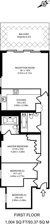 Large floorplan for William Morris Way, Sands End, SW6