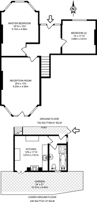 Large floorplan for Palace Road, Tulse Hill, SW2