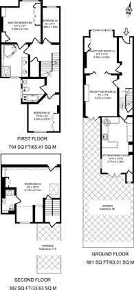 Large floorplan for Southdean Gardens, Southfields, SW19