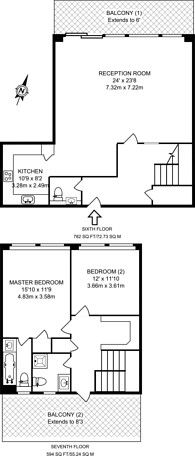 Large floorplan for Arnhem Wharf, Isle Of Dogs, E14