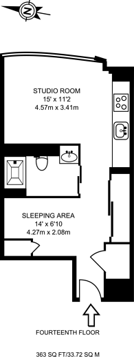 Large floorplan for Ontario Tower, Canary Wharf, E14