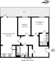 Large floorplan for Wharfside Point South, Poplar, E14