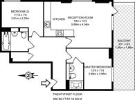 Large floorplan for Wharfside Point South, Canary Wharf, E14