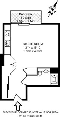 Large floorplan for Pan Peninsula, Canary Wharf, E14