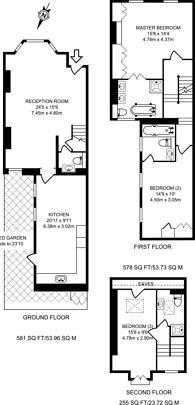 Large floorplan for Burnthwaite Road, Fulham Broadway, SW6