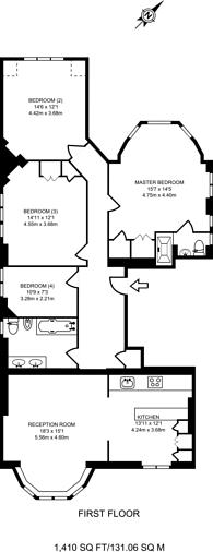 Large floorplan for Heysham House, Hampstead, NW3