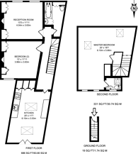 Large floorplan for Oxford Gardens, Chiswick, W4