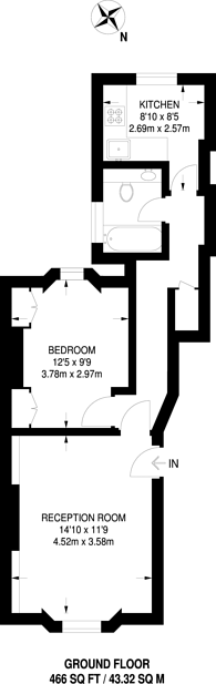 Large floorplan for Cambridge Street, Pimlico, SW1V