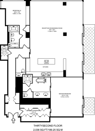 Large floorplan for The Heron, City, EC2Y