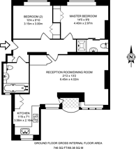 Large floorplan for Kew Bridge Court, Chiswick, W4