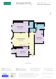 Large floorplan for Upper Montagu Street, Marylebone, W1H
