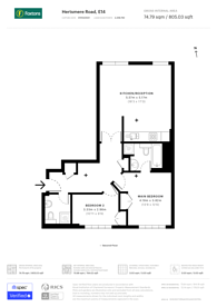 Large floorplan for Port East Apartments, Canary Wharf, E14