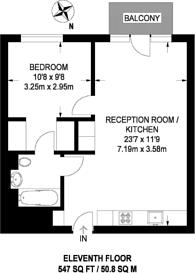 Large floorplan for London City Island, Canary Wharf, E14