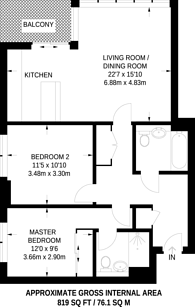 Large floorplan for Panoramic Tower, Poplar, E14