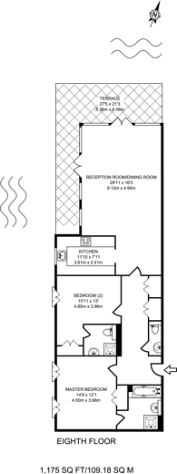 Large floorplan for Western Beach Apartments, Royal Docks, E16