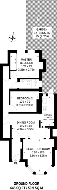 Large floorplan for Hawthorn Road, Crouch End, N8