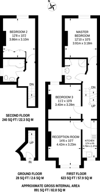 Large floorplan for Brook Road, Thornton Heath, CR7