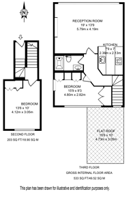 Large floorplan for Warwick Gardens, Kensington, W14