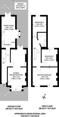 Large floorplan for Raleigh Road, Hornsey, N8