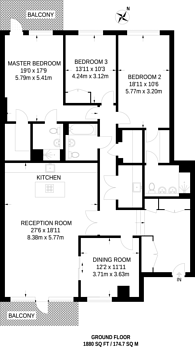 Large floorplan for The Lexington, Golders Green, NW11