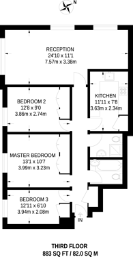 Large floorplan for Landward Court, Marylebone, W1H