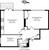 Large floorplan for Richmond Way, Brook Green, W12
