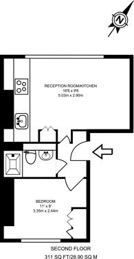 Large floorplan for Cromer Street, Bloomsbury, WC1H
