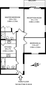 Large floorplan for Keel Court, Docklands, E14