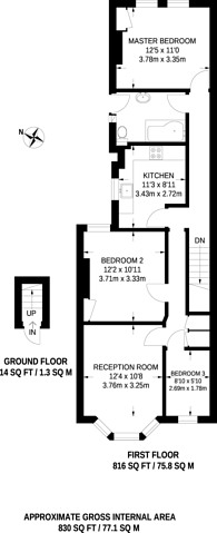 Large floorplan for Kinsale Road, Peckham Rye, SE15