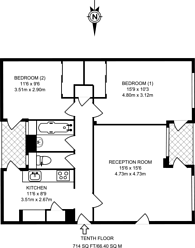Large floorplan for Harrison Street, Bloomsbury, WC1H