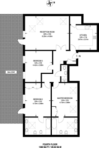 Large floorplan for Seymour Court, West Putney, SW15