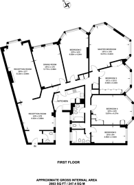 Large floorplan for Park Road, St John's Wood, NW8
