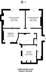 Large floorplan for Kensington, High Street Kensington, W8