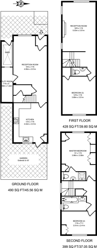 Large floorplan for Thaxted Place, Wimbledon, SW20
