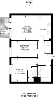 Large floorplan for Campion House, Canada Water, SE16