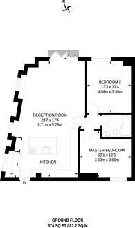 Large floorplan for St Pauls Road, Islington, N1