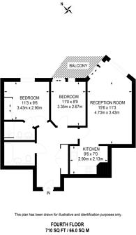 Large floorplan for Battersea Reach, Battersea, SW18