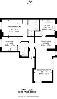 Large floorplan for William Morris Way, Fulham, SW6